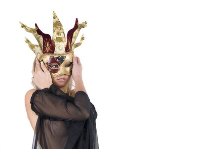 conceal: sexy woman with carnival venice mask on her face isolated in white Stock Photo
