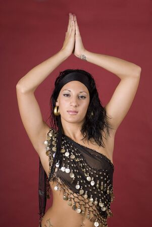 Beautiful arabian style dancer with black veil Stock Photo - 4979626