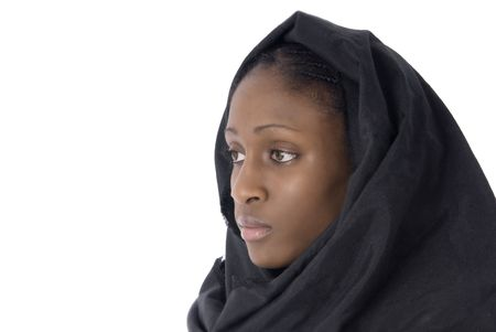 muslim woman with black vell in white background Stock Photo