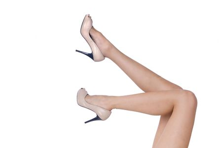 beautiful woman legs isolated in white Stock Photo