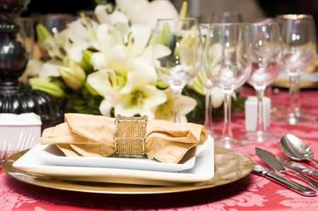 Fancy table set for a wedding celebration
