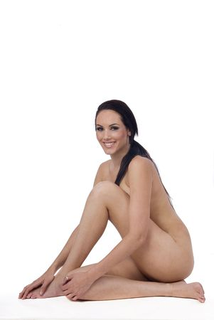healthy naked woman over white laughing