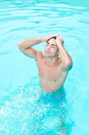 occiput: Man in swimming pool