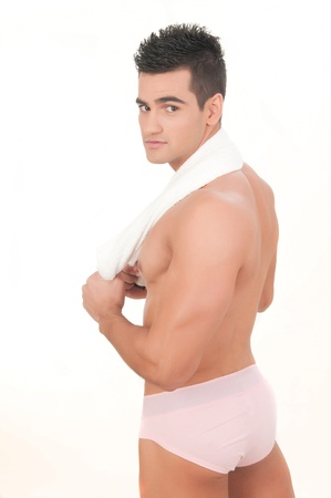 beautiful man with slip and towel