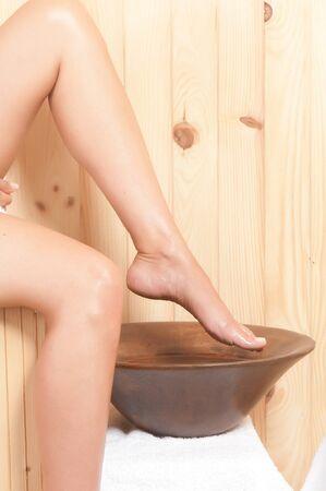 woman legs in a sauna or spa Stock Photo - 21744371
