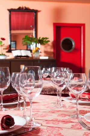 Fancy table set for wedding or christmas