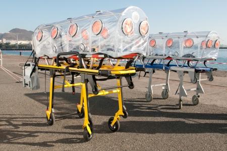 emergency ambulance: emergency ambulance bed for virus or nuclear alarm