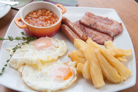 english breakfast with potatoes, bacon, beans and eggs photo