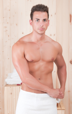 beautiful man in spa or sauna