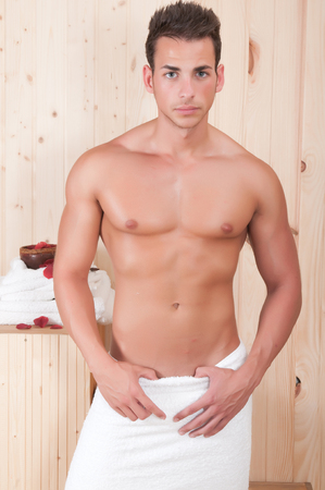 sexy gay: beautiful man in spa or sauna