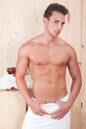 beautiful man in spa or sauna photo