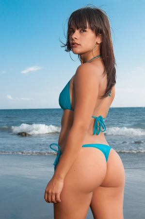 perfect woman back at the beach Stock Photo