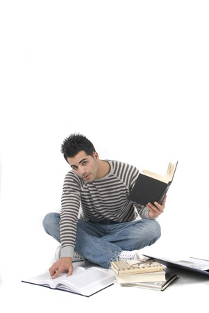 Beautiful man studying photo