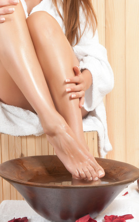 beautiful legs care in an spa