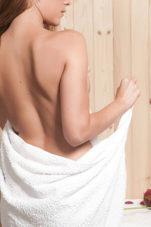 woman having body care in an spa or sauna relaxing photo