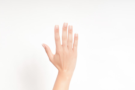 hand fingers numbers in a white  photo