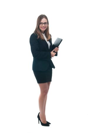 Businesswoman handing black folder