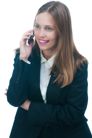 phone business: business woman talking by phone Stock Photo