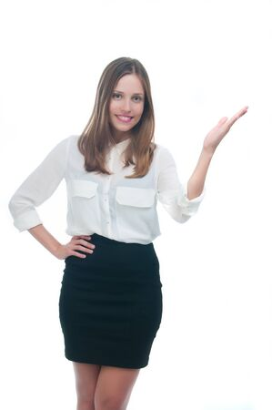 beautiful business woman in white background showing your product