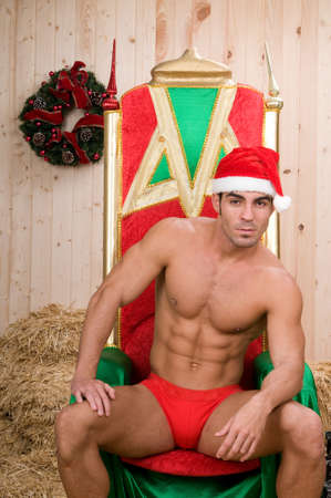 Sexy and muscled Noel in a barn