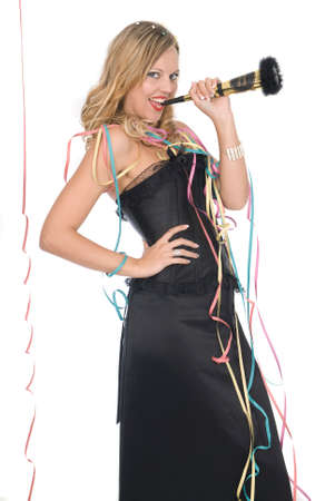 woman with elegant dress laughing at a new year party Stock Photo