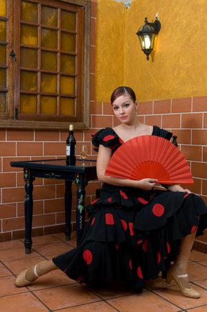 young flamenco dancers enjoying the seville april fair in spain