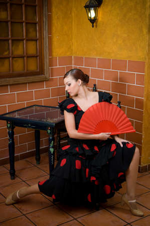 typical spanish flamenco dancer at the seville fair in april Stock fotó