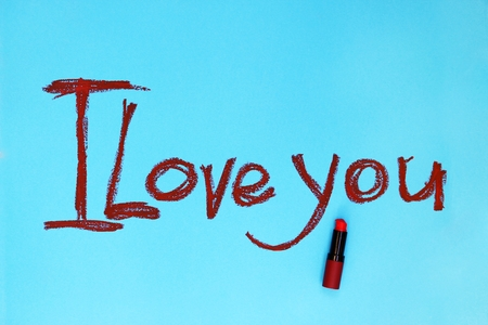 Words I Love you written by lipstick