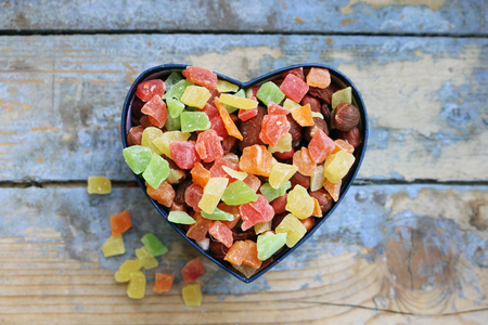 junk: Candies in a heart shaped box
