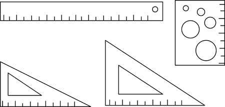 Ruler, setsquare vector pictogram.