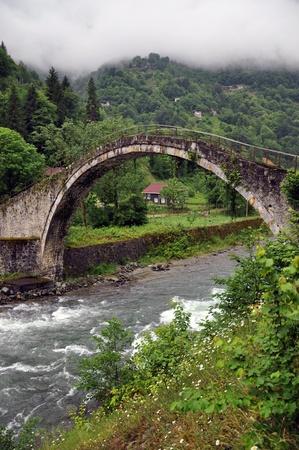 koprusu: Senyuva Stone Arch Bridge on Firtina  Storm  Valley at Rize