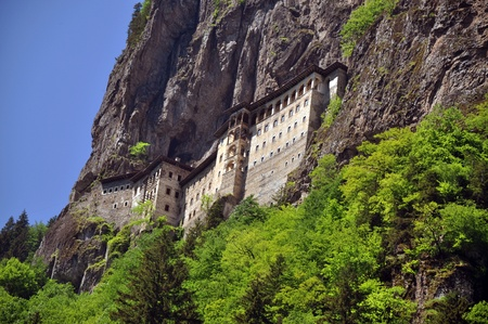 The Sumela Monastery, built on a ledge of a steep cliff on the slopes of the Black Mountain  Karada  287;  overlooking the Altindere valley, located inside the territory of the Alt  305;ndere village in the Maçka district of the Trabzon Province