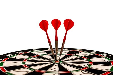 Arrows hit the target perfectly, financial goal, marketing solution, business target 版權商用圖片