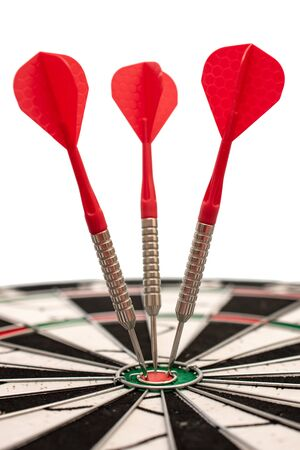 Target with arrows, darts hits the target, image for finance business, marketing business, advertising solutions, vertical photo Foto de archivo