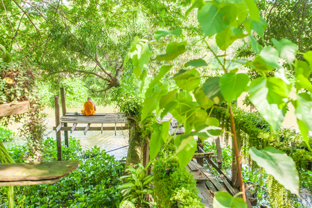 Thai monk chanting and reading chanting book for buddha, the book of enlightened. Peaceful place at riverside under the branches of banyan tree. Singburi, Thailand.