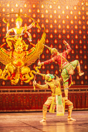 Khon performance, the battle between giant and evil in literature the Ramayana epic. Khon is Thai classic masked play, culture and traditional of Thailand. Thailand cultural centre is open to the public.