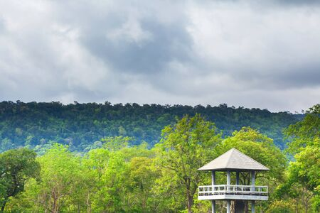 Dramatic cloudy over the tropical forest and animal watching tower hideout Banco de Imagens