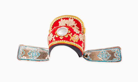 Chinese opera hat, ancient chinese clothing, isolated on white background   .