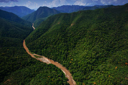 Aerial view of Teak forest and a river near Thailand and Myanmar border,