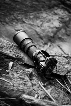 Black super telephoto lens and digital camera body flat lay on old log. Top view. Selective focus.