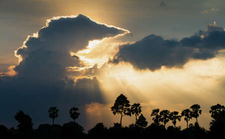 Dramatic clouds and sunset sky, sunbeam shines through ripples clouds onto a forest. Focus on clouds. Фото со стока