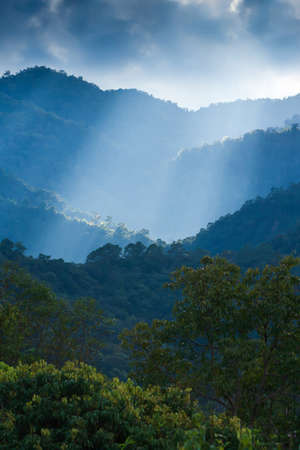 Dramatic sunrise shines through the clouds onto mountain peak and green forest. Selective focus. Imagens