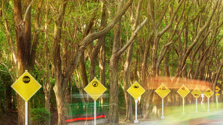 Landscape yellow traffic signs on a tree lined road with light trails. Selective focus. Long exposure.