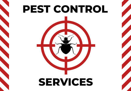 Pest control leaflet design, horizontal orientation. Minimal graphic illustration with a bedbug as a target in red circle mark.