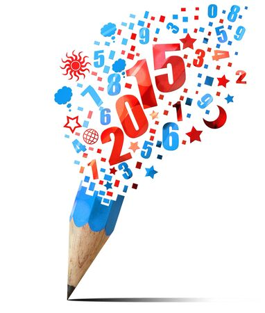 creative blue pencil 2015  year isolated on white photo