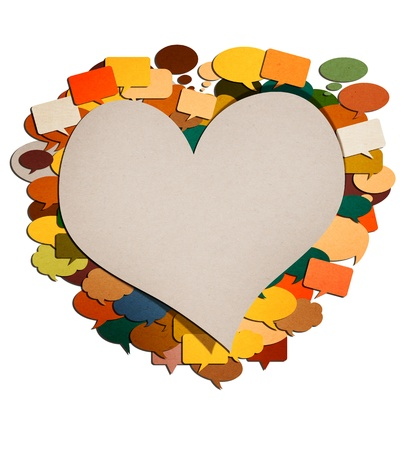 heart paper talk image created by recycled paper cut isolate on white background photo