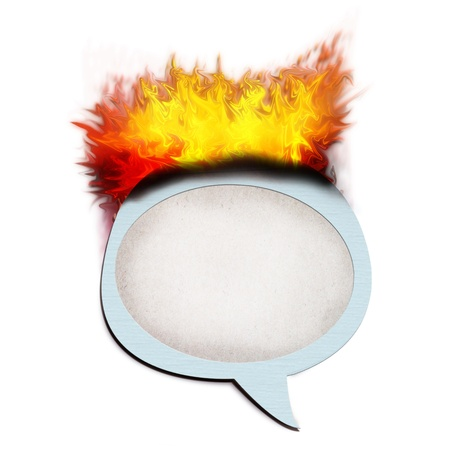 paper talk icon with fire burn  isolate on white Stock Photo - 11562043