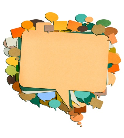 paper talk image created by recycled paper cut isolate on white background photo