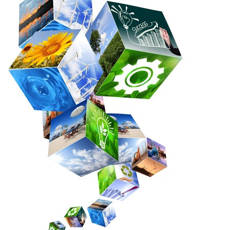 global innovation: Abstract industrial cubes  designs Stock Photo