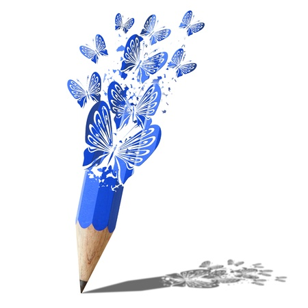 art of butterfly  blue pencil isolated on white Banco de Imagens